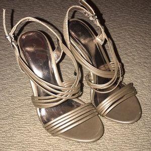 Aldo gold strappy heels 5 snakeprint straps